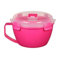 Sistema Pink Klip It Microwave Noodle Pasta Soup Bowl 940ml