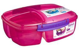 Sistema Pink Triple Split 2L Multi Compartment Lunch Box Yog