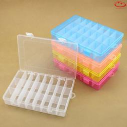 Plastic 10/24 Slots Adjustable Jewelry Storage Box Case Craf