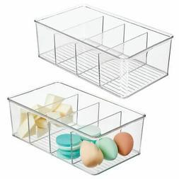 mDesign Plastic Bathroom Storage Organizer Bin Box, 4 Divide