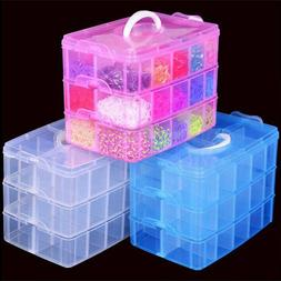 Plastic Clear Jewelry Bead Organizer Box Storage Container C