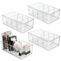 mDesign Plastic Cosmetic Storage Organizer Bin Box - 4 Divid