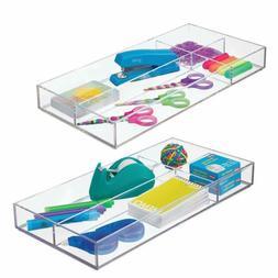 mDesign Plastic Divided Drawer Organizer for Home Office, De