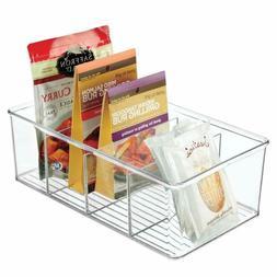 Mdesign Plastic Food Storage Organizer Bin Box - 4 Divided S