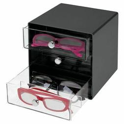 plastic glasses storage organizer box 3 drawers