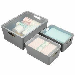 mDesign Plastic Home Storage Organizer Box, Set of 3 - Charc