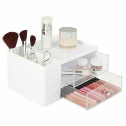 mDesign Plastic Makeup Storage Organizer Caddy Box, 4 Sectio