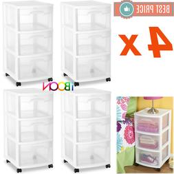 Plastic Multi 3 DRAWER STORAGE CABINET Organizer Set Of 4 Ro