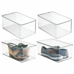 mDesign Plastic Stackable Closet Shoe Storage Bin Box with L