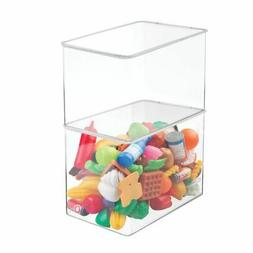 mDesign Plastic Stackable Closet Storage Bin Box with Lid, 9