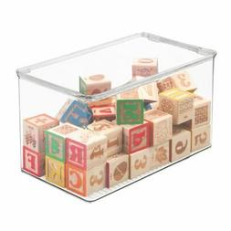 mDesign Plastic Stackable Closet Storage Bin Box with Lid, 7