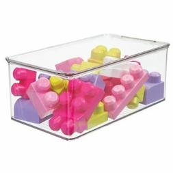 """mDesign Plastic Stackable Toy Storage Bin Box with Lid, 5"""" H"""