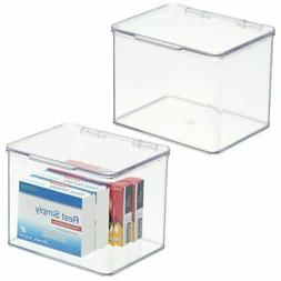 mDesign Plastic Stackable Household Storage Bin with Lid - 4