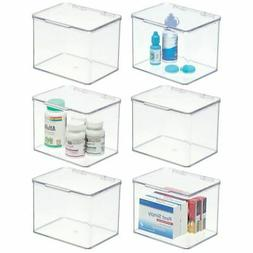 mDesign Plastic Stackable Vitamin/First Aid Storage Box with