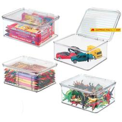 Mdesign Plastic Stacking Organizer Toy Box With Attached Lid