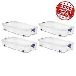 plastic storage containers box under bed set