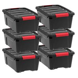 Plastic Storage Tote Container Black Stackable Pull Box 6 Pa