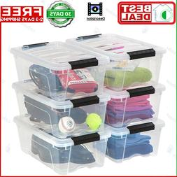 Plastic Storage Tote Container Clear Stackable Pull Box 6 Pa