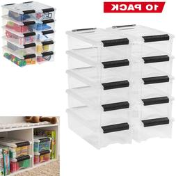 Plastic Storage Tote Container Clear Stackable Pull Box 10 P