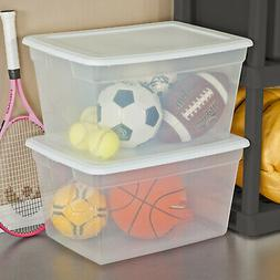 PLASTIC TOTE BOX 58 Qt Clear Stackable Container Bin Storage