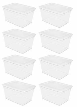 PLASTIC TOTE BOX Storage Containers 58 Qt Clear Stackable Bi