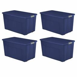 4 Pack Plastic Tote Storage Container Large Organizer Box w/