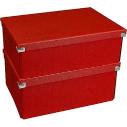 Samsill Pop n' Store Medium Document Box - 2 Pack - Red -
