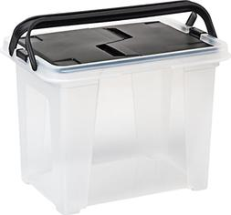 IRIS USA, Inc. WHFB-24 Wing-Lid File Box with Handle, Clear/