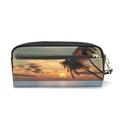 PU Leather Cloud Sunset Palm Tree Zipper Pencil Bag Pouch Pe