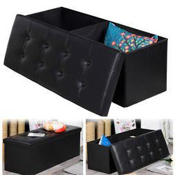 PU Leather Cube Ottoman Pouffe Storage Box Lounge Seat Foots