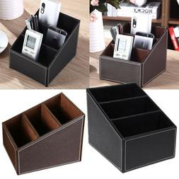 PU Leather Phone/TV Remote Control Storage Box Home Desk Org