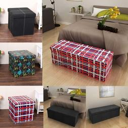 PVC Leather Suede Cube Ottoman Multifunctional Folding Stora