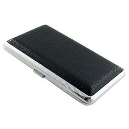 SODIAL Metal Frame Black Faux Leather Cigarette Storage Case