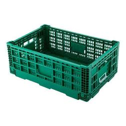 Rectangle Green Plastic 36L Collapsible Milk Crate - Stackab