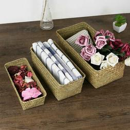 Rectangle Natural Handmade Straw Storage Box Seagrass Basket