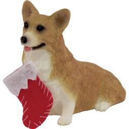 Sandicast Red Pembroke Welsh Corgi with Stocking Christmas O