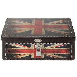 MyGift Retro Style Union Jack Tin Storage Box with Padlock