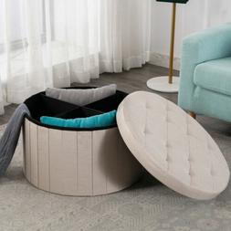 Round Folding Storage Ottoman Tufted Storage Box Foot Rest S