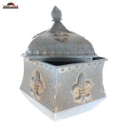 Rustic Fleur De Lis Home Decor Vintage Style Metal Box ~ NEW