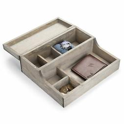 MyGift Rustic Graywashed Wood Watch Case & Valet Storage Box