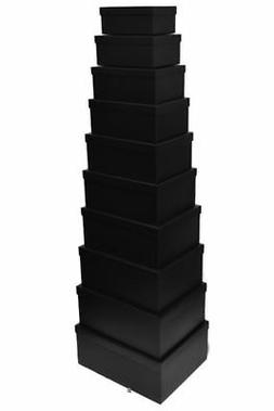 Set 10 Solid Midnight Black Nesting Decorative Shelf Storage