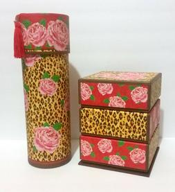 Set of 2 Cheetah Print & Roses Decorative Storage Boxes, Pun