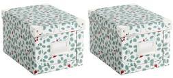 Set of 2 - Ikea FJALLA Storage Box With Lid Green, White 7 x