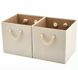 Set of 2 Foldable Bamboo Fabric Storage Bin with Rope Handle