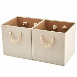 EZOWare Set of 2 Foldable Bamboo Fabric Storage Bin with Cot