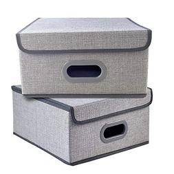 Set of 2 Foldable Storage Box Bins Cubes with Lid Basket Clo