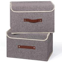 Set of 2 Foldable Storage Box W/ Lids Linen Fabric Storage O