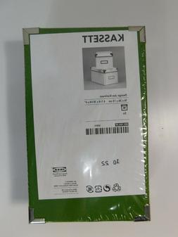 IKEA Set of 2 Green KASSETT Storage Boxes w Lids 6 1/4 X 10