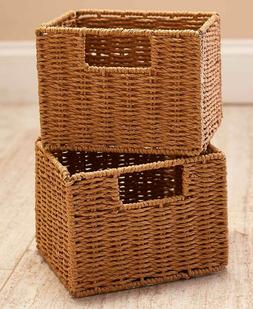 Set of 2 Paper Rattan Baskets Containers Storage Bins Organi