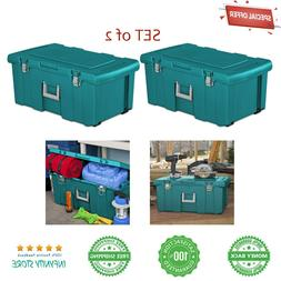 Set of 2 Rolling Storage Box Footlocker Tool Chest Organizer
